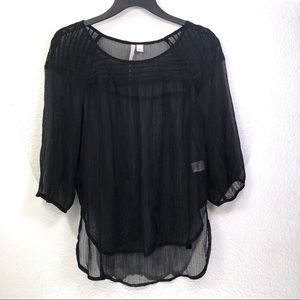 LC Sheer Metallic Pinstriped Popover Blouse